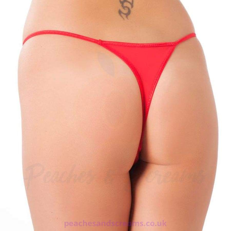Sexy Red Crotchless G-String Thong with Two Satin Bows